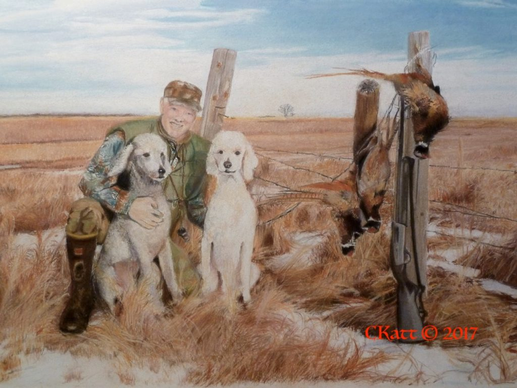 f7231a492ff7 ... whose sire was a hunting champion, I was inspired by this photo of Gary  Scovel and his poodles, Beau and Scout. Poodles historically are bird dogs.